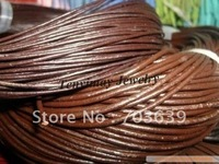 Wholesale 25m 4mm Brown Geguine Leather Necklace Cords For DIY Free Shipping