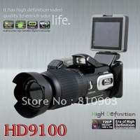 HD Digital DV Camcorder Video Camera HD9100 + 16x Telephoto Lens + Wide-angle Lens 2.5'' LCD 16MP