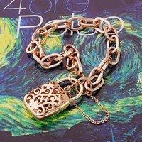 FILIGREE HANDBAG LOCKET 9K 9CT REAL ROSE GOLD FILLED WOMEN'S BRACELET CHAIN Free shipping