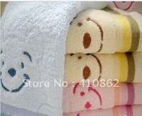 Free shipping 100% pure cotton face towel smiling towel 34*75cm 95g