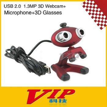 Cute Cartoon Style USB 2.0 2*CMOS Double 1.3MP Lens 3D Webcam w/ Microphone Free Shipping