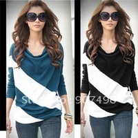 Best Selling!!New Fashion Women's Batwing Long Sleeve Spliced Twill Tops T-shirt +free shipping ,discount