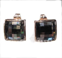 Min.order is $10 (mix order) black square 18k rose gold plated crystal stud earrings woman lady princess E35