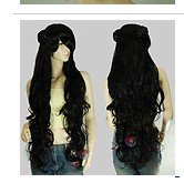 40 inch Black Kanekalon Long Curly Cosplay DNA Wig with clip-on hair buns 35BB1(China (Mainland))