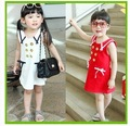 Baby girls skirts sleeveless turndown collar dress with double row button  fashion 2 colors 5pcs/lot chinapost