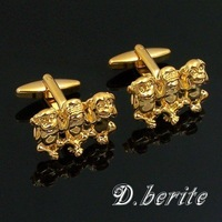 Brand New Men's Jewelry Shirt Cuff Link Cufflinks Gift Box Golden Tone Three Monkeys CJ160