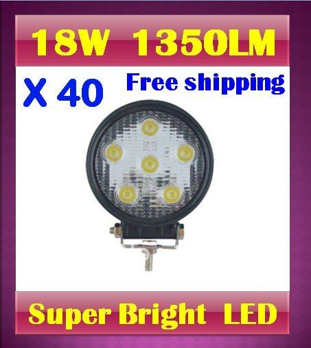 Promotion by DHL ! 40 X 18W Spot beam led work light 1350LM Aluminum mini truck crane ambulance offroad exterior lighting(China (Mainland))