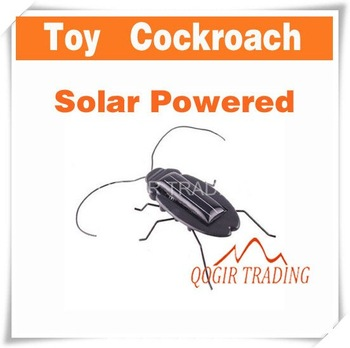 Solar Power Energy Black Cockroach Bug Toy Children 7504