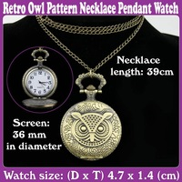 5pcs/Lot_New Retro Owl Pattern Necklace Pendant Watch Bronze Color_Free Shipping