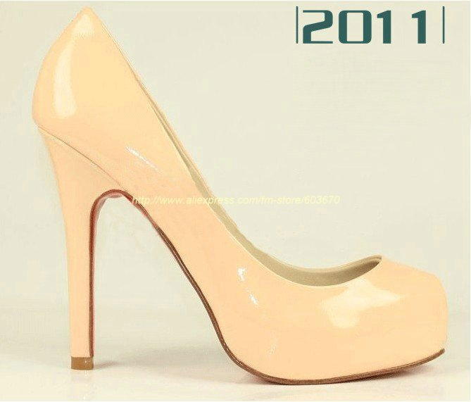 Free Shipping New Arrival Red bottom special sale sheepskin box toe waterproof super high heels 100% Hot sell !!!(China (Mainland))