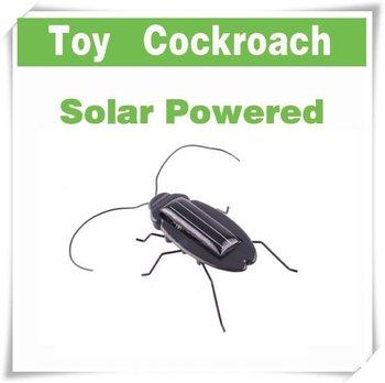 Solar Power Energy Black Cockroach Bug Toy Children  C7504