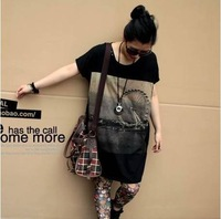 2012new summer Fat women's loose big yards Casual short Tees O-neck T-shirt hot seller on sale one size black free shipping