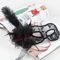 Free Shipping Hallowmas Venetian Masquerade Masks Black Translucent Side Flower Feather Mask Dance Party Mask 20 pcs