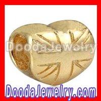 2012 Play Union Jack Heart Bead for European charm bracelets Wholesale SS2332 Free Shipping