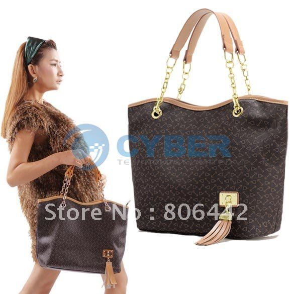 Korea Fashion Women's Contrast Color PU Leather Handbag Tote Bag Shoulder Bag  Free Shipping