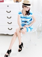 2012 summer new blue and white stripe package hip casual dress