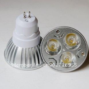 The GU5.3  of  LED spotlight spot light lighting lamp 110V - 240V 3W  white or warm white high bay 1w chip ! Free Shipping