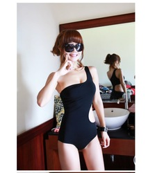 Free shipping fashion One-Shoulder Cut Out Padded Swimsuit Swimwear sexy Bathing suit swimming wear One Pieces Monokini bikini(China (Mainland))