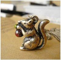 FREE SHIP&Wholesale!5pcs/lot  Super Cute Vintage Bronze Squirrel Charm Pendant Necklace