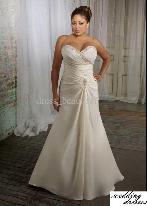 Hot Sale NEW Sexy Mori Plus Size Wedding Dresses Sweetheart Glazed Satin Chapel Train Dress
