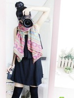 Free Shipping, Geometric Women Stole Girls Soft Beach Silky Cotton Wrap Scarf Shawl, 10pcs/lot
