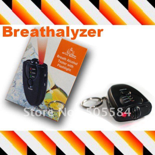 Breath Alcohol tester Breathalyzer LED Flashlight Display Alcohol analyzer Keychain car gadget , 10pcs Free shipping(China (Mainland))