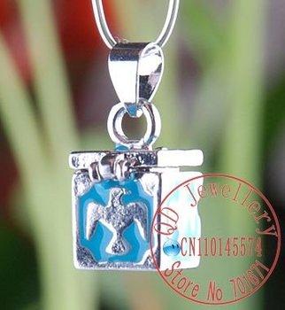 Free Shipping 10pcs/lot Blue  Wish Prayer Box Pendant Magic Perfume Locket Pendant, charm pendant  fit Bracelet/necklace P185