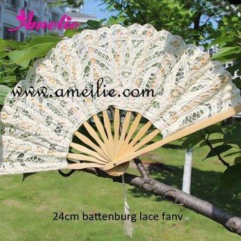 Handmade 24cm Battenburg lace embroidery wedding Fan wedding decoration fan