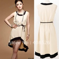 2013 HOT SALE New Fashion Women's Lady Vest Sleeveless Asymmetric Hem Dress Free Shipping 4013
