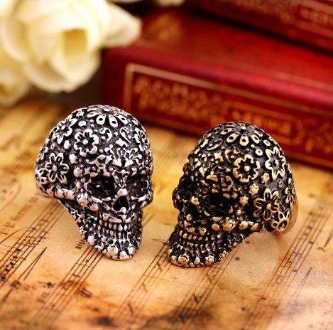 Retro Punk Skull Carved flower Rings 1314 Fashion Jewelry Wholesale(China (Mainland))