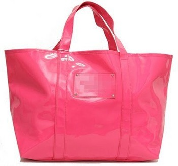 VS044 VV LARGE PVC Candy  Pink XL Tote Bag Beach Swim tote  - NWOT FREE SHIPPING