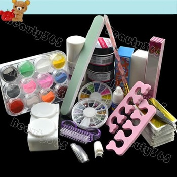 Nail Art Kit Set Acrylic Liquid Powder Brush Pen Glitter Decoration Cuticle Tip Tool  Free Shipping 2434
