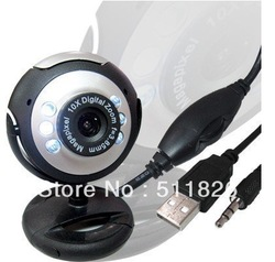 web cam computer camera digital USB 6 LED Webcam with Mic Digital Camera usb webcam,pc webcam free shipping 8099(China (Mainland))