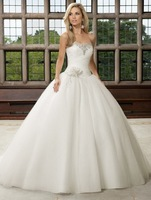 Free Shipping!strapless flowers crystal ball gown luxury wedding dress 2013 new styles