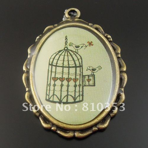 Antiqued Bronze Plated Blue Birds Pattern Alloy and Epoxy Pendants 32*25*2 mm 8pcs-32757(China (Mainland))