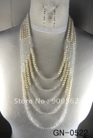 Long pearl necklace multi-crystal four color