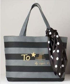MZ093 AA Japanese magazine Black & Gray  Stripe Shoulder Tote Bag with scarve free shipping