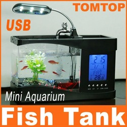 Mini USB LCD Desktop Lamp Light Fish Tank Aquarium LED Clock,free shipping wholesale(China (Mainland))