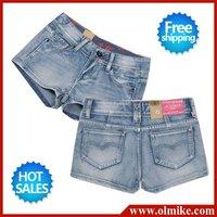 free shipping promotional new 2012 ladies' designer leisure fashion demin jeans shorts slim washed cotton short pants WSD003_04