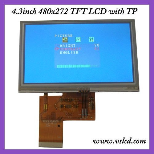 4.3 inch tft lcd module with 4-wire Resistive Touch Panel