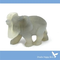 "FACTORY RETAIL Semi-precious Stone Carving-3"" Gray Agate African Elephant Animal Gemstone Carving, 20 Stone Choice"