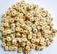 1000pcs/lot 10mm Wood Alphabet Cube Beads,diy wood embellishments/craft Natural color