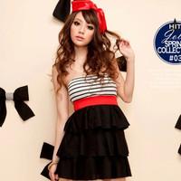 Free Shipping Horizontal stripe lipstick cake tube top one-piece dress 8777