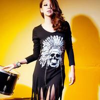 Free Shipping Factory Direct Sell Indian hem tassel Black  dress 10718