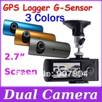 Fast Free Shipping Singapore Post !! X3000 Car DVR HD 2.7 inch Screen GPS G-Sensor Double Lens Vehicle Video Recorder  Camera