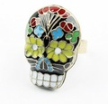 Free shipping~Fashion Peking opera Face Spectrum Skull rings 24pcs/lot