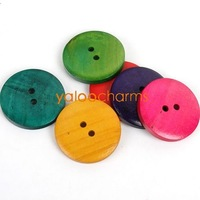 Wholesale- 80pcs 2-hole Mixed Painted wooden Sewing Buttons fit costume sewing & handcraft  35mm  Free shipping 111322--80