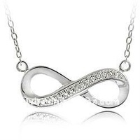free shipping 5pcs a lot rhodium plated shining pave crystal infinity symbol pendant necklace