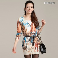 Free Shipping 2012 spring high quality oil painting print V-neck cardigan women's medium-long coat