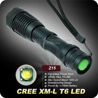 1PC Newest Z15 ZOOM Flashlight 1300 Lumens CREE XM-L T6 LED Flashlight 18650 Battery Zoomable Flashlight Adjustable Torch